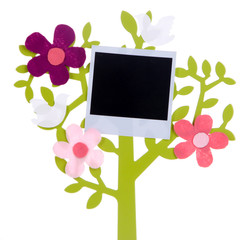 Holder in form of tree with instant photo card isolated on