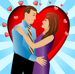 young loving couple on a background a heart