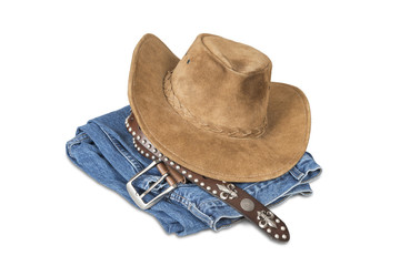Cowboy hat and accessories with clipping path.
