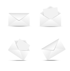 Four paper envelopes on a white background