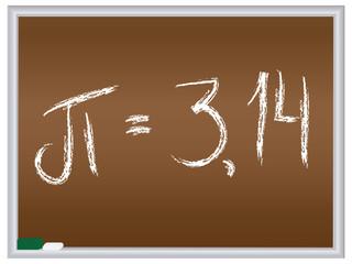 number pi written on chalkboard