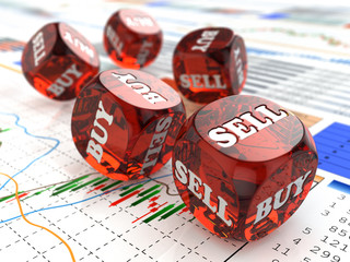 Stock market concept. Dice on financial graph.