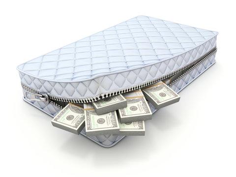 Money in the mattress - 3D savings concept