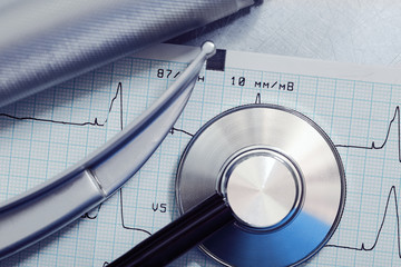 Medical concept. Laryngoscope and stethoscope