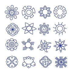 Flower icons collection. Vector art
