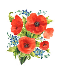 Watercolor bouquet of red poppies