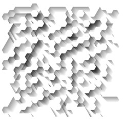 White technological abstract background with hexagons. Eps10