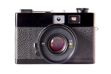 Old vintage photo camera, isolated on white