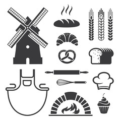 Bakery icons and symbols