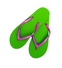 Beach shoes, flip flops - pink and bright green with glitter, ho