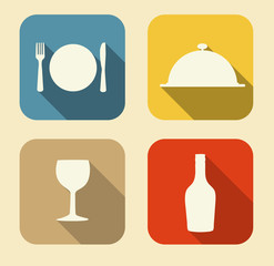 Modern Flat Food Icon Set for Web and Mobile Application in Styl