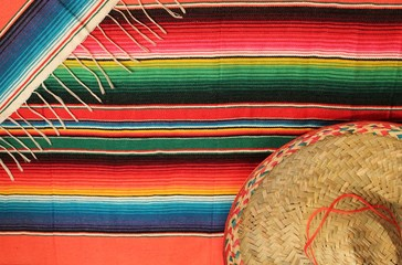 Mexican poncho sombrero poncho with sombrero cinco de mayo background blanket mexico fiesta copy space pattern stripes copy space serape rug  stripes stock photo, stock photograph, image, picture,