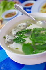 Hot and spicy Thai style mackerel soup with vegetables
