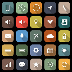 Mobile phone flat icons with long shadow