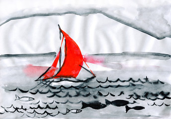 nave with red sail, sails on river