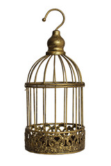 Vintage birdcage isolated on white background