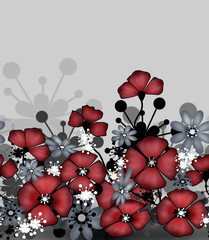 Horizontal seamless pattern of red poppies and grey flowers