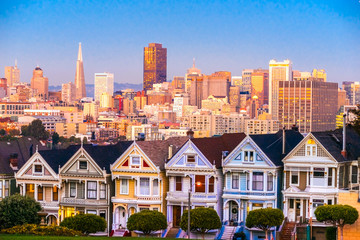 Foto op Canvas San Francisco The Painted Ladies of San Francisco, California, USA.