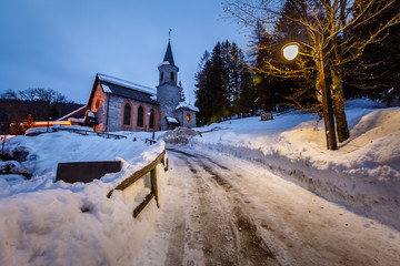 Fototapete - Church in the Village of Madonna di Campiglio in the Morning, It
