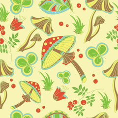 Pattern with mashrooms and berries. Vector art