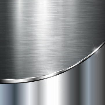 Metallic background, vector polished steel texture.