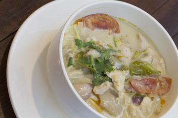 Thai chicken soup in coconut milk