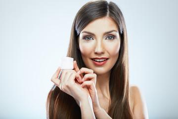 Beauty woman face skin care. Close up portrait. White backgroun