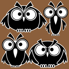 icons owls isolated on brown background