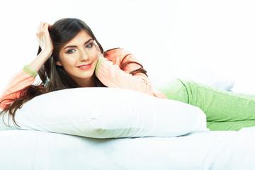 Woman bed portrait.