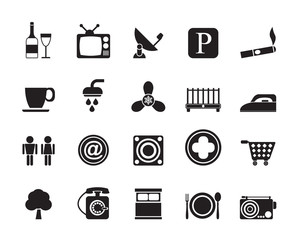 Silhouette Hotel and Motel objects icons - vector icon set