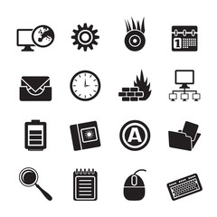 Silhouette Computer, mobile phone and Internet icons