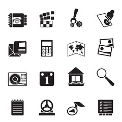 Silhouette Mobile Phone and Computer icon - Vector Icon Set