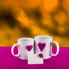 love card with heart on a tea cup