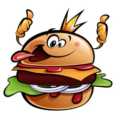 Cartoon burger king making a thumbs up gesture