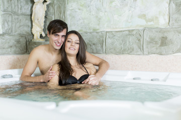 Young couple in the hot tub