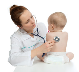 nurse auscultating child baby patient spine with stethoscope