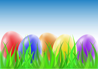 Easter eggs on the green grass