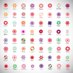 Flower Icons Set - Isolated On Gray Background
