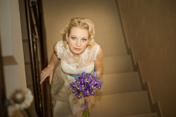 Wedding, Beautiful bride with bouquet of flowers