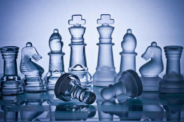 Chess board game represents business or political move