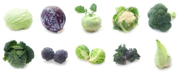 Papiers peints Légumes frais Collage Kohlgemüse