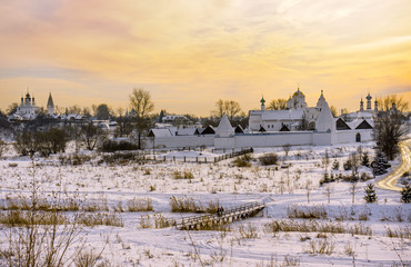 Historic town of Russia - Suzdal. Church and monastery in winter