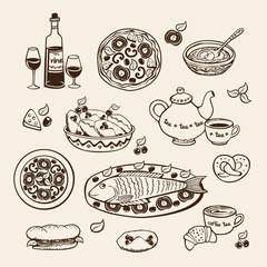illustration for restaurant and cafe menu