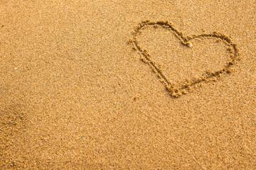Inscription heart of sand texture.