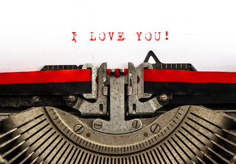 Old typewriter with sample text I LOVE YOU
