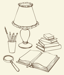 Vector still life. Books, magnifying glass, lamp and pens