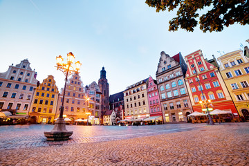 Fototapete - Wroclaw, Poland. The market square at the evening