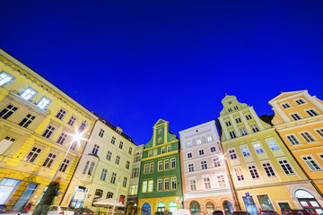 Fototapete - Wroclaw, Poland in Silesia region. The market square at night