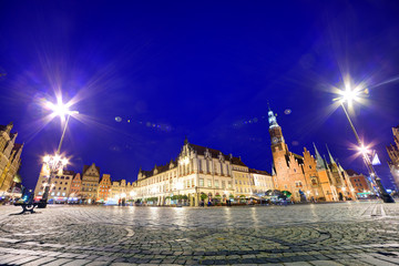 Fototapete - Wroclaw, Poland. Historical market square and the Town Hall.