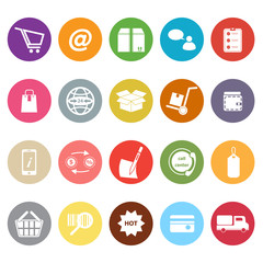 Ecommerce flat icons on white background